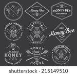honey and bees vector badges... | Shutterstock .eps vector #215149510