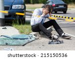 sad man at road accident scene  ... | Shutterstock . vector #215150536