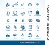 public administration icons set | Shutterstock .eps vector #215160913