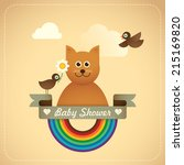 Baby shower illustration with comic cat. Vector illustration. - stock vector