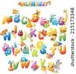 alphabet for kids with pictures | Shutterstock .eps vector #215173348
