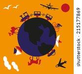 traveling around world on... | Shutterstock .eps vector #215177869