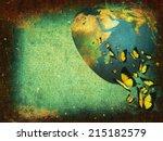 grunge background planet earth | Shutterstock . vector #215182579