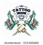 cool authentic tattoo studio... | Shutterstock .eps vector #215183683