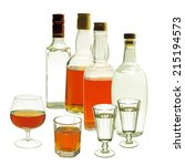 whiskey and gin bottles and... | Shutterstock . vector #215194573