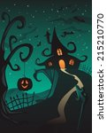 happy halloween poster  holiday ... | Shutterstock .eps vector #215210770