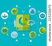 flat infographic  ramadan kareem   Shutterstock . vector #215220673