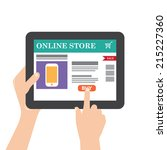tablet with internet shopping   Shutterstock .eps vector #215227360
