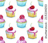 watercolor cupcakes with cherry.... | Shutterstock . vector #215234053