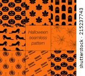 8 different halloween seamless... | Shutterstock .eps vector #215237743