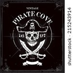 vintage vector pirates skull... | Shutterstock .eps vector #215243914