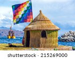 whiphala flag on a hut on a... | Shutterstock . vector #215269000
