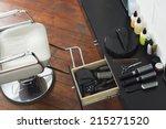 barber's chair beside open draw ... | Shutterstock . vector #215271520
