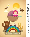 Comic baby shower illustration in color. Vector illustration. - stock vector