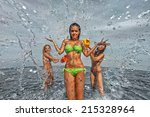 sexy young girls on the beach... | Shutterstock . vector #215328964