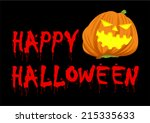 scary pumpkin face with happy... | Shutterstock .eps vector #215335633