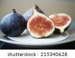 fresh ripe figs on a plate | Shutterstock . vector #215340628