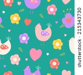 beautiful floral seamless... | Shutterstock .eps vector #215343730