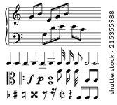 set of music notes vector.... | Shutterstock .eps vector #215355988