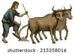 Plowman With Oxen