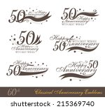 Anniversary 50th signs collection in classic style. Template of anniversary, birthday and jubilee emblems  with number editable and copy space on the ribbons.