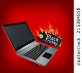 fiery black friday sale design... | Shutterstock .eps vector #215384038