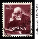 Small photo of Spain - CIRCA 1952: A stamp printed in Spain, shows portrait Jaume Ferran y Clua (1851-1929), Spanish bacteriologist and sanitarian, circa 1952