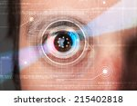 modern cyber man with technolgy ... | Shutterstock . vector #215402818