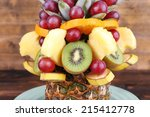 table decoration made of fruits ... | Shutterstock . vector #215412778