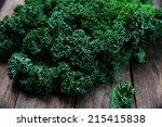 Organic Kale With On Old Woode...