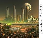 futuristic alien city  ... | Shutterstock . vector #215431228