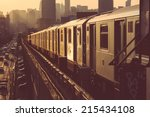 subway train in new york at... | Shutterstock . vector #215434108