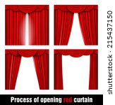 process of opening red curtain | Shutterstock .eps vector #215437150