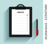 clipboard with check list. | Shutterstock .eps vector #215437684