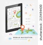 world map. mobile gps... | Shutterstock .eps vector #215454430