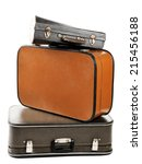 vintage old travel suitcases ... | Shutterstock . vector #215456188