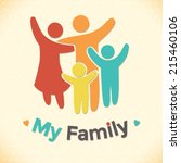 happy family icon multicolored... | Shutterstock .eps vector #215460106