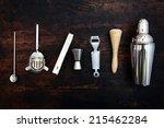 set of bar or pub accessories... | Shutterstock . vector #215462284
