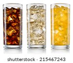 glasses of sweet carbonated... | Shutterstock . vector #215467243