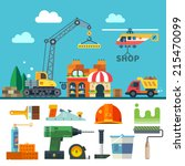 construction. process  tools ... | Shutterstock .eps vector #215470099