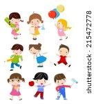 group of children  | Shutterstock .eps vector #215472778