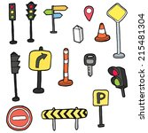 vector set of traffic icon | Shutterstock .eps vector #215481304