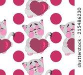 love kitten with heart... | Shutterstock .eps vector #215486230