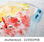 colorful oil paint on canvas  | Shutterstock . vector #215502958