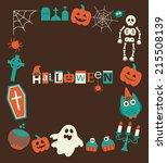 halloween frame design. vector... | Shutterstock .eps vector #215508139