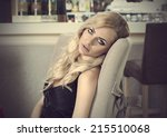 romantic portrait of blond girl ... | Shutterstock . vector #215510068