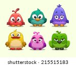 set of cartoon funny birds | Shutterstock .eps vector #215515183