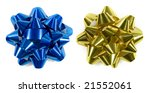 Blue and gold christmas gift bows isolated on white (top down shot) - stock photo