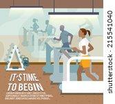 people training on treadmills... | Shutterstock .eps vector #215541040
