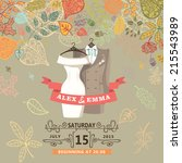 wedding invitation with autumn... | Shutterstock .eps vector #215543989